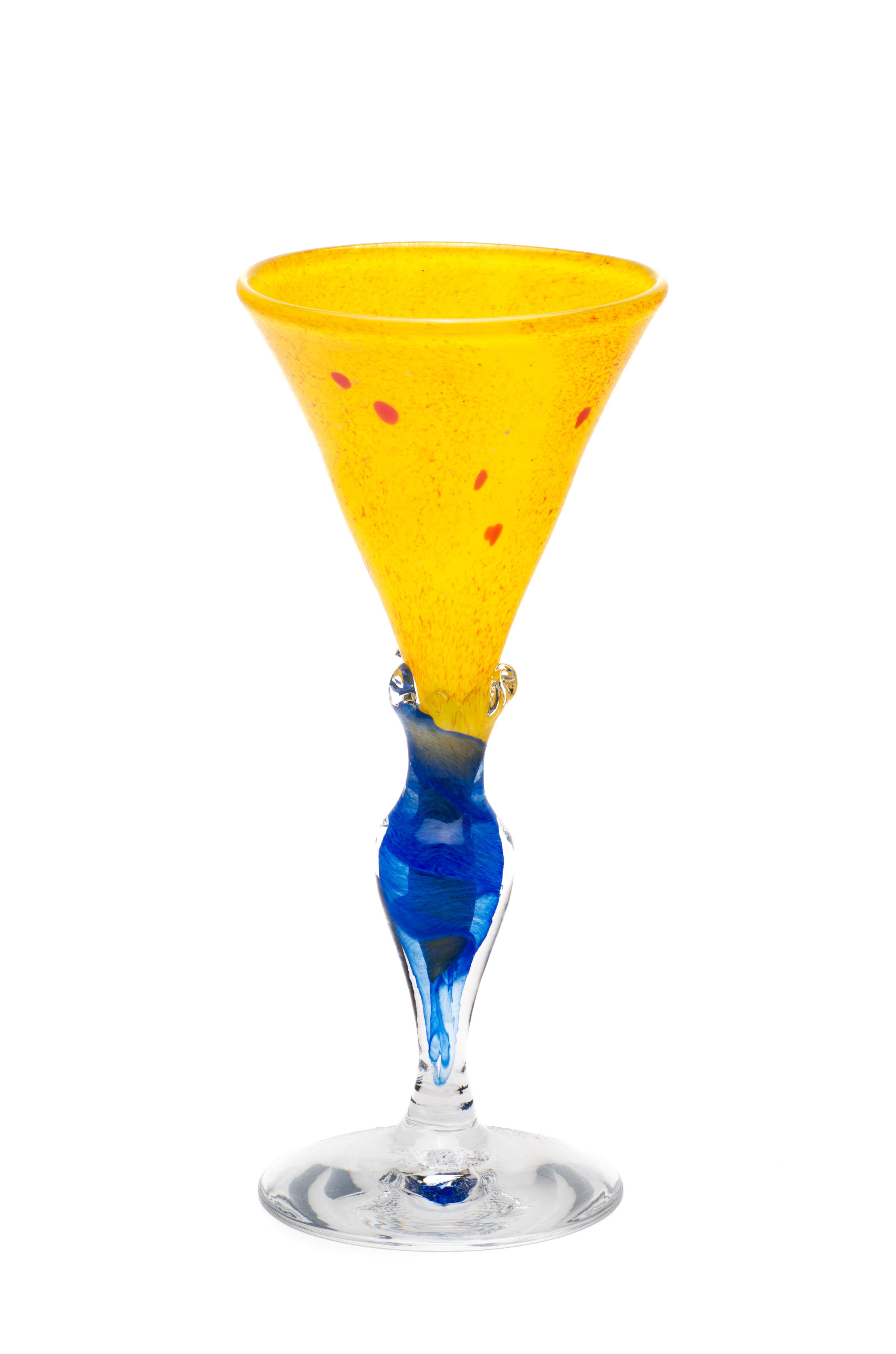 gul med rød og blå stett
